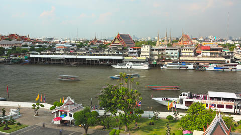 Chao phraya river zoom out timelapse 4K Footage