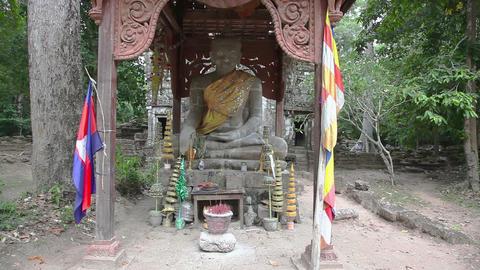 Sculpture of Buddha slider filming Footage