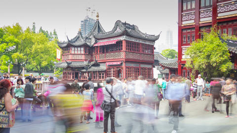 Entrance to Yuyuan Garden turn timelapse 4K Footage