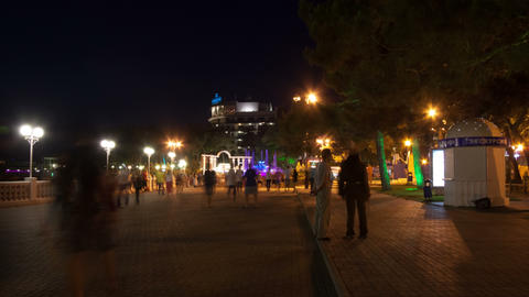 Gelendzhik City Walk In The Night Hyperlapse 4K stock footage