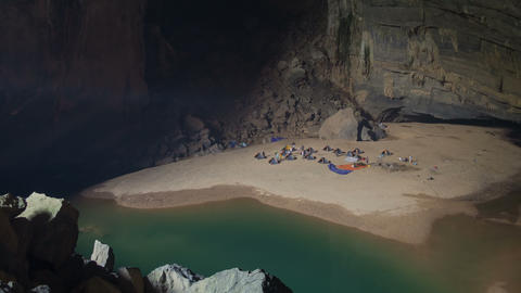 Camp Inside Cave Timelapse 4K stock footage