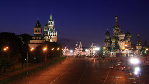 Kremlin and Saint Basil's Cathedral night timelaps Footage