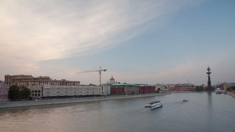 Krimsky bridge walking hyperlapse sunset 4K Footage