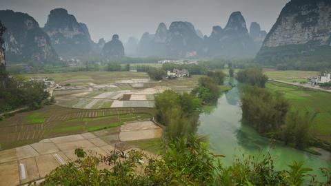 Mingshi Scenic Area Landscape Slider Timelapse 4K stock footage