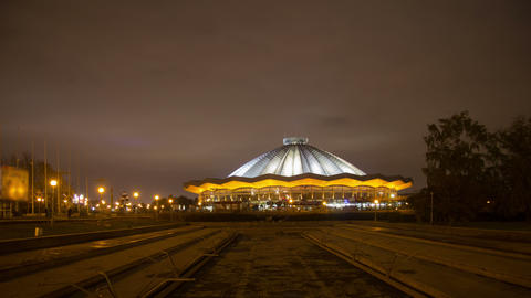 Moscow State Circus night hyperlapse 4K Footage
