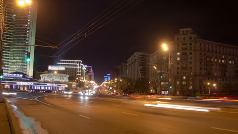 New Arbat bridge night hyperlapse 4K Footage