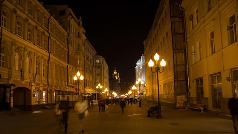 Old Arbat street night hyperlapse 4K Footage
