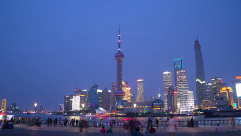 Pudong view on the Bund embankment hyperlapse day Footage