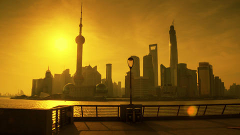 Sunrise in Shanghai hyperlapse 4K Footage