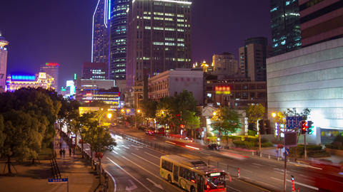 Shanghai night traffic timelapse 2 4K Footage
