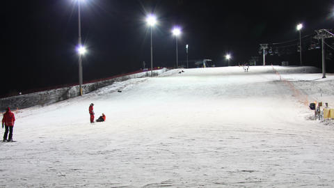 Skiing resort night timelapse 4K Footage