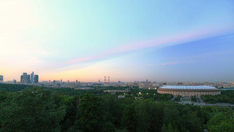 Panorama of Moscow city timelapse during sunset 4K Footage
