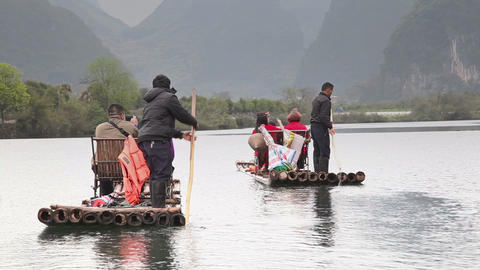 Youlong river rafting in Yangshou 3944 Footage