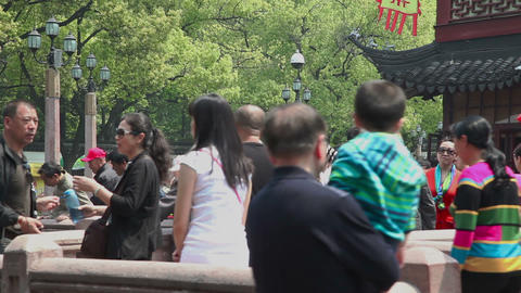 Crowd At The Entrance To Yuyuan Garden In Shanghai stock footage