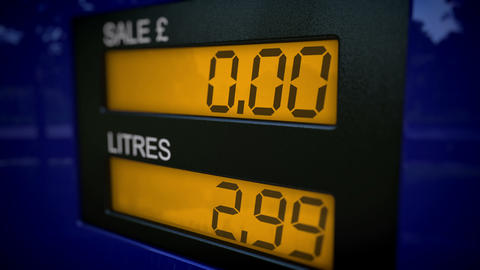 Free petrol concept. Gas pump display showing no c Animation