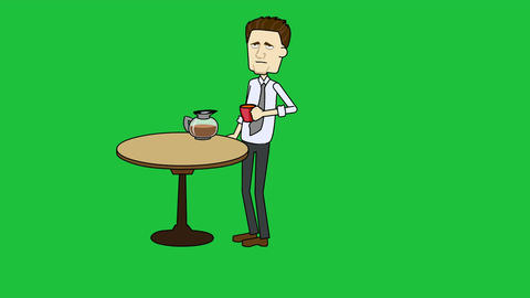 Cartoon Businessman Drinking Coffee: Looping + Mat stock footage