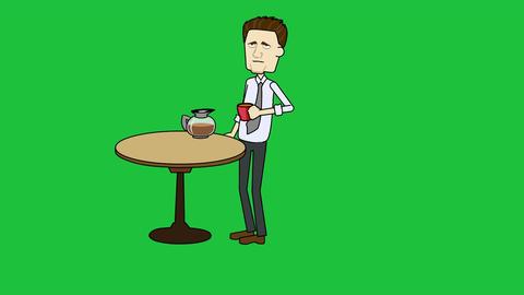 Cartoon Businessman Drinking Coffee: Looping + Mat Animation
