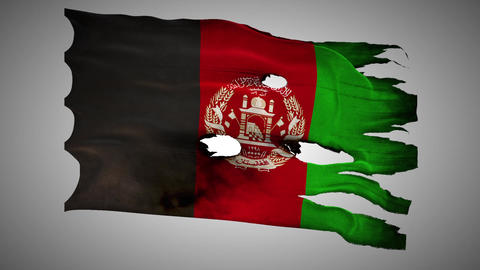 Afghanistan Perforated, Burned, Grunge Waving Flag stock footage