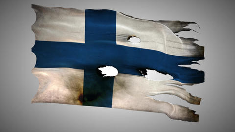 Finland perforated, burned, grunge waving flag loo Footage