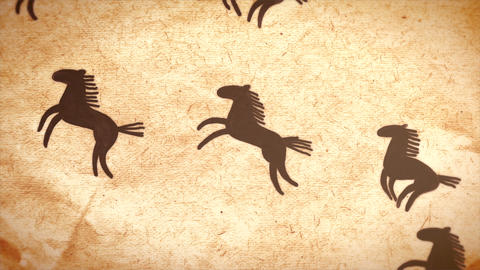 Hand Drawn Horse Herd Crossing The Screen. Animati stock footage