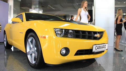 Motor Show. Chevrolet Camaro stock footage