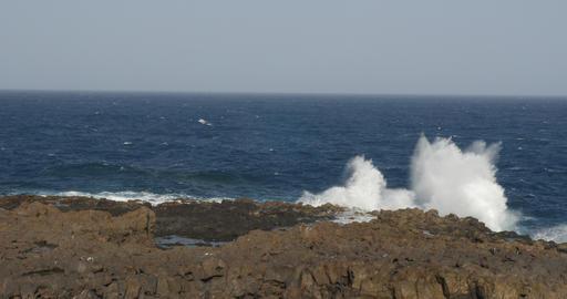 4K, Dramatic water waves splashing and crashing ag Footage