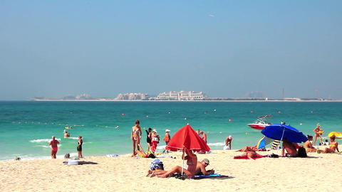 Beach In Dubai, View Of The Persian Gulf And Palm Island, United Arab Emirates stock footage