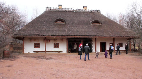 Ukrainian tavern with thatched roof Footage