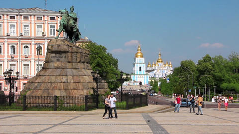 Monument to Bogdan Khmelnitsky on Sofiyskaya square and Mikhailovsky Golden-Dome Footage