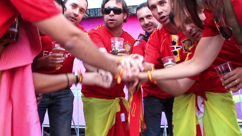 Spanish Football Fans Handshake stock footage