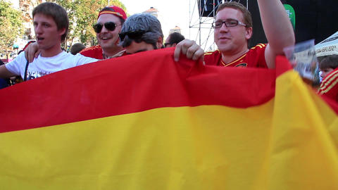 Spanish football fans before final match of European Football Championship Live Action