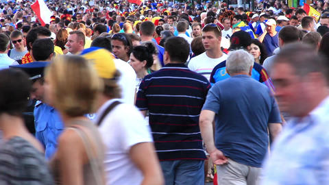 Football fans crowd before final match of European Football Championship 2012 Footage