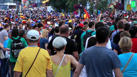 Football fans crowd before final match of European Football Championship 2012 Live Action