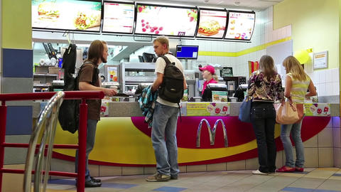 People inside fast food restaurant Footage
