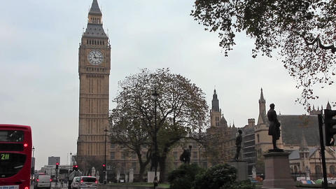 Road traffic near Big Ben in London, England Footage
