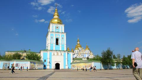 4K Mikhailovsky Golden-Domed Monastery Footage