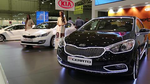 Black KIA Cerato At Yearly Automotive-show stock footage