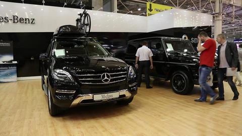 Mercedes-Benz M-class at automotive-show Footage