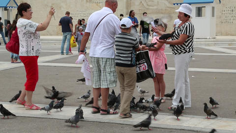 People and pigeons near Parliament and Syntagma Square in Athens, Greece Footage