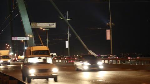 Road traffic on the bridge Footage