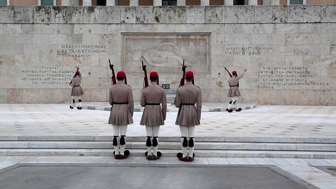 Evzones - Greek national guards near building of Parliament in Athens Footage