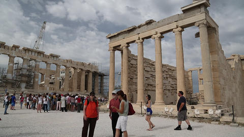 People near Parthenon - ancient temple in Athenian Acropolis, Greece Footage