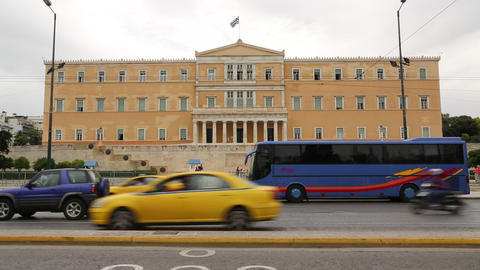 Road Traffic Near Parliament And Syntagma Square In Athens, Greece stock footage