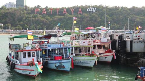 Boats near Pattaya bay, Gulf of Siam, Thailand Footage