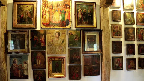 Old Icons Inside Radomysl Castle, The Museum Of Uk stock footage