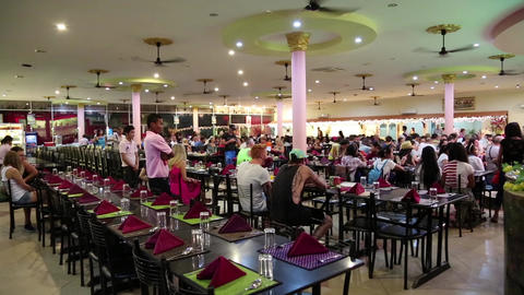People at restaurant in Siem Reap city, Cambodia Footage
