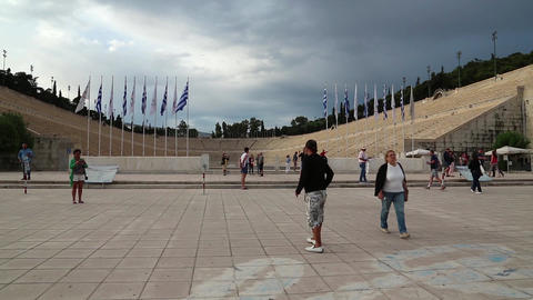 People Near Panathenaic Stadium In Athens, Greece stock footage
