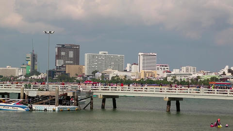 People In The Seaport, Pattaya City And Gulf Of Siam In Thailand stock footage