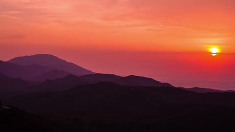 Beautiful Sunset At Mountains And Sea. HD 1080 stock footage