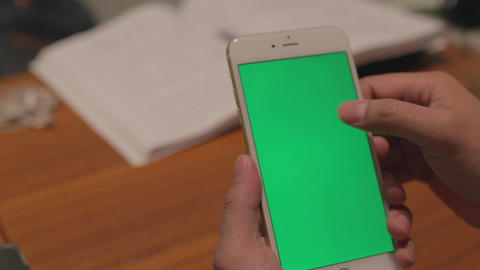 Iphone 6 Plus Green Screen - Businessman Scrolls,p stock footage